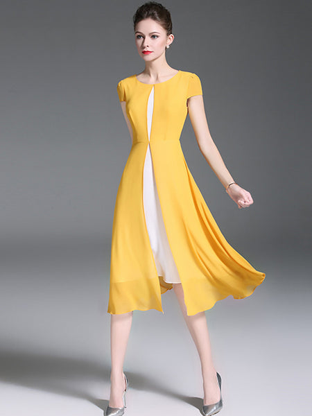 Yellow O-Neck Short Sleeve Chiffon Skater Dress