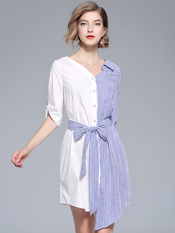 Asymmetrical Stripe Stitching V-Neck Skater Dress