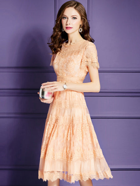 Flare Sleeve O-Neck Lace Big Hem A-Line Dress
