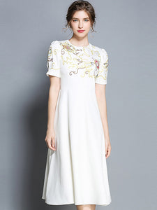 Embroidery O-Neck Short Sleeve Vintage Fit & Flare Dress