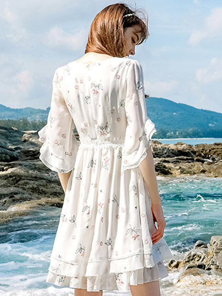 Lace Chiffon Half Sleeve Sweet Floral Dress