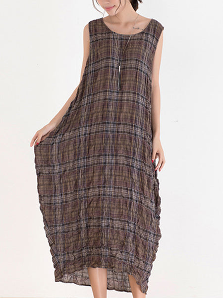 Plaid O-Neck Sleeveless Loose Maxi Dress