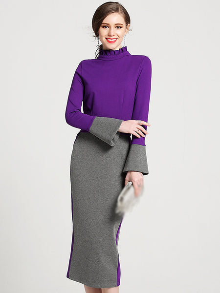 Brief Stand Collar Long Sleeve Hit Color Bodycon Dress