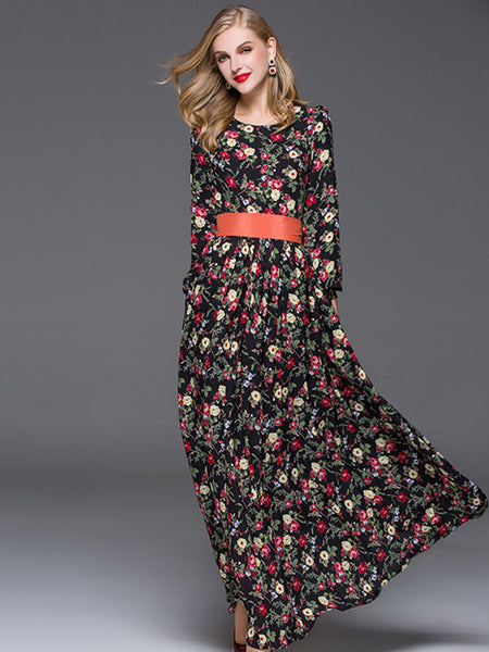 Puff Sleeve O-Neck High Waist Belted Floral Dress