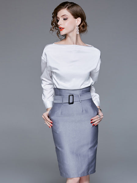 Long Sleeve Pocket Hit Color Belted Bodycon Dress