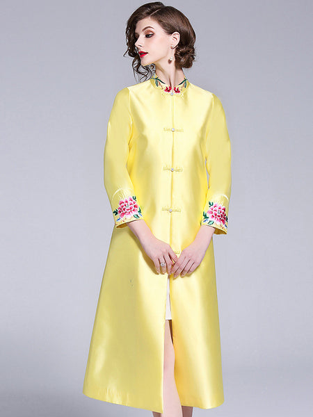 Embroidery Stand Collar Half Sleeve A-Line Dress Without Lining