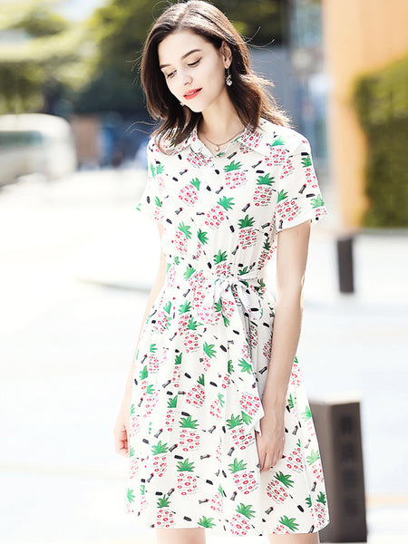 Sweet Turn-Down Collar Short Sleeve Lacing Floral Dress