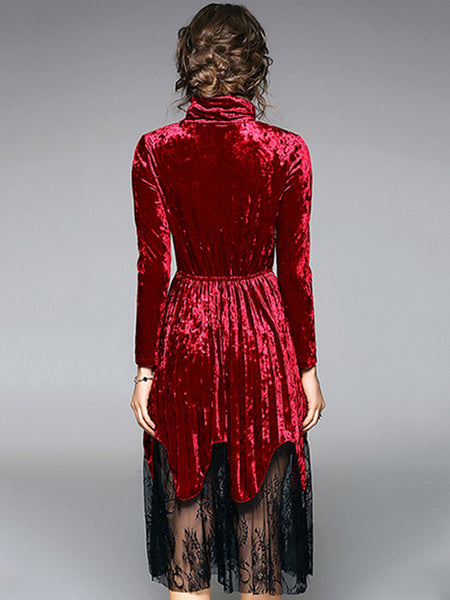 Velour Stand Collar Long Sleeve Lace Fit & Flare Dress