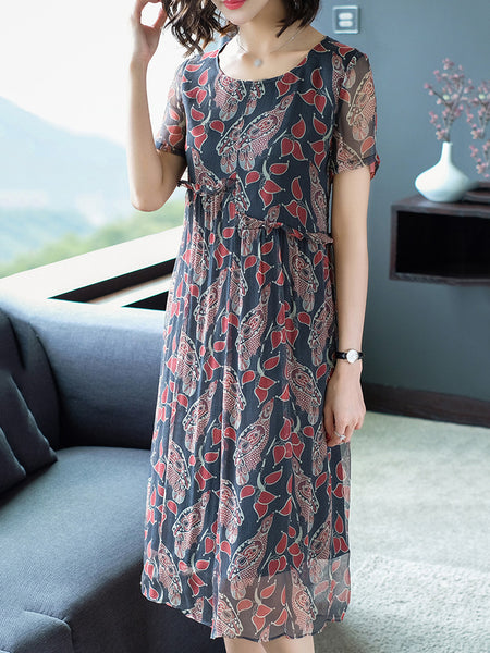 Short Sleeve O-Neck Casual Print Shift Dress