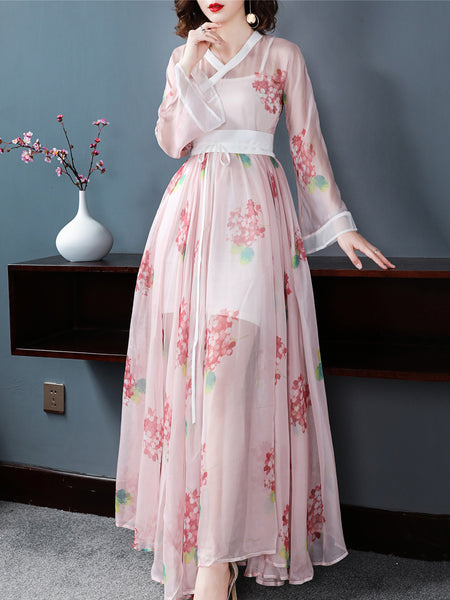 Vintage V-Neck Flare Sleeve Big Hem Lacing Print Maxi Dress