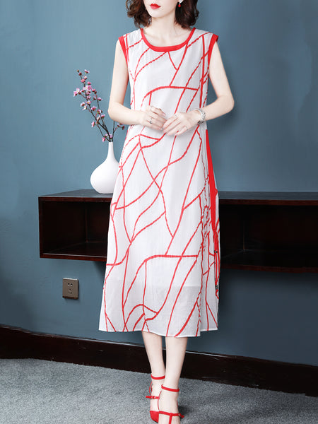 Silk O-Neck Sleeveless Print Shift Dress