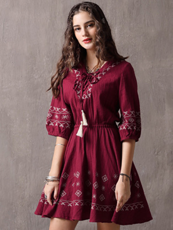 Puff Sleeve V-Neck Lacing Folk Fit & Flare Dress