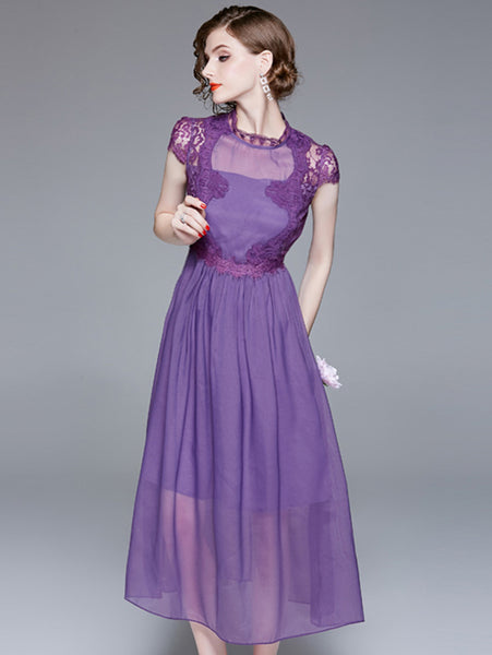 Lace Stitching Stand Collar Short Sleeve Maxi Dress