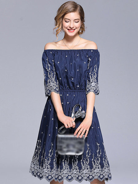Embroidery Boat Neck Elastic Waist A-Line Dress