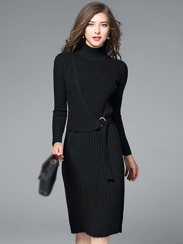 High Collar Long Sleeve Metal Button Sweater Dress