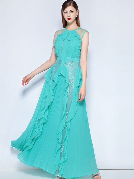 Falbala O-Neck Sleeveless Lace Stitching Maxi Dress