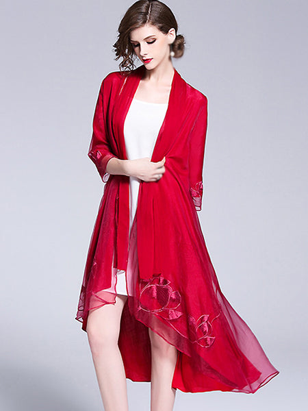 Organza Embroidery 3/4 Sleeve Shift Dress/Cardigan(Without Lining)