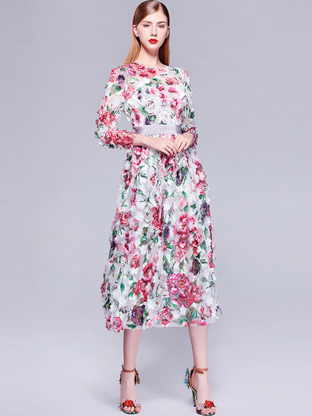 Embroidery O-Neck Long Sleeve High Waist A-Line Dress