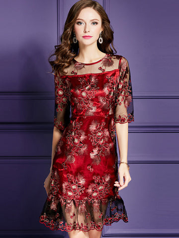 Mermaid O-Neck Half Sleeve Embroidery A-Line Dress