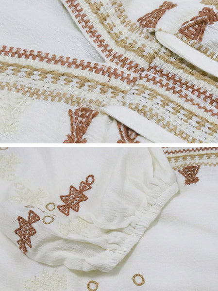 V-Neck Half Sleeve Embroidery Lacing A-Line Dress