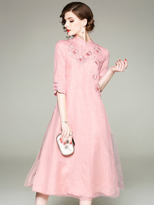 Stand Collar Embroidery Half Sleeve Shift Dress