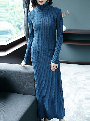 Pure Color Pocket High Collar Long Sleeve Sweater Dress