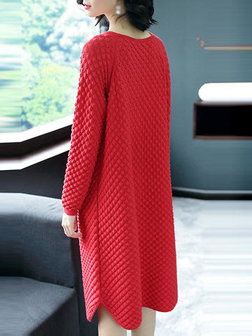 O-Neck 3/4 Sleeve Pure Color Loose Sweater Dress