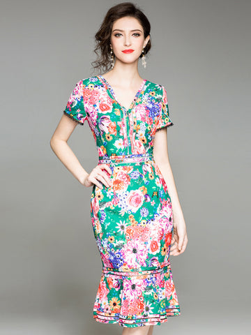 Mermaid Deep V-Neck Short Sleeve Sheath Floral Dress