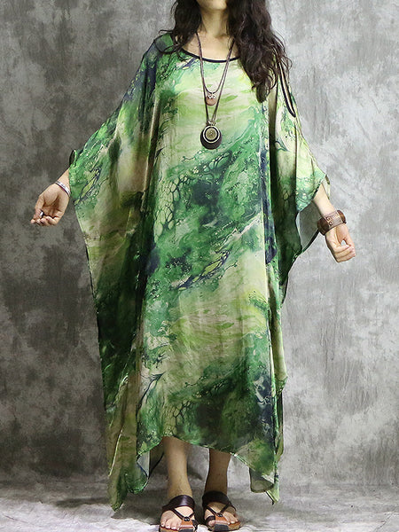 Multicolor Batwing Sleeve O-Neck Shift Dress
