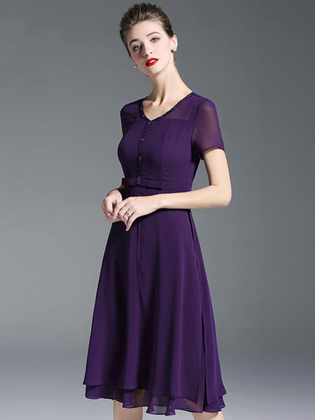 Chiffon Purple V-Neck Short Sleeve Skater Dress