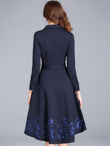 Embroidery Turn-Down Collar Lacing A-Line Dress