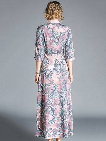 3/4 Sleeve Turn-Down Collar Big Hem Print Maxi Dress