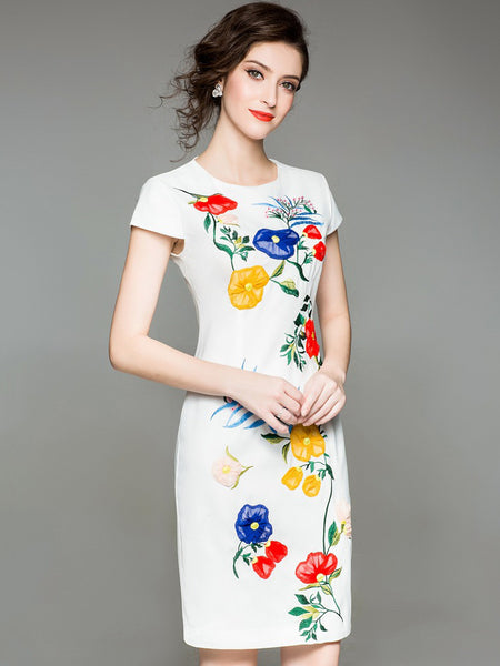 Embroidery O-Neck Short Sleeve Bodycon Dress