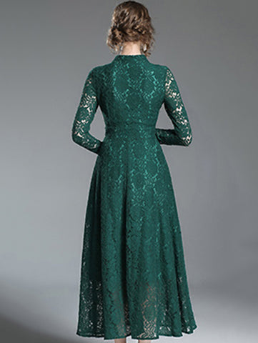 V-Neck Long Sleeve Lace Hollow Out Maxi Dress