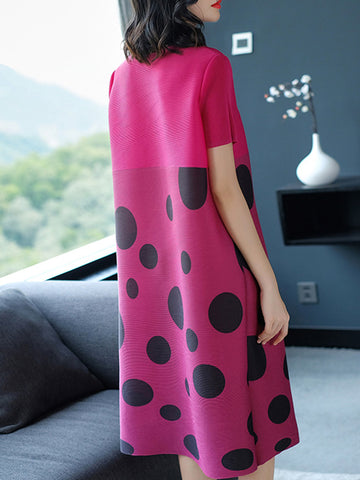 Polka Dot O-Neck Short Sleeve Shift Dress