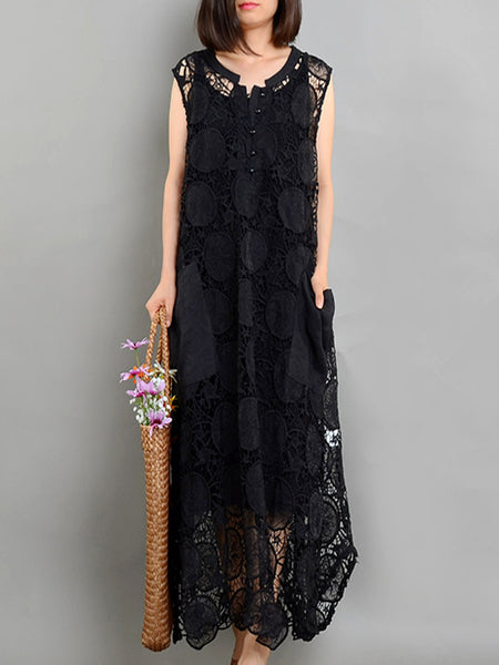 Lace Hollow Out O-Neck Pocket Two Piece Maxi Dress