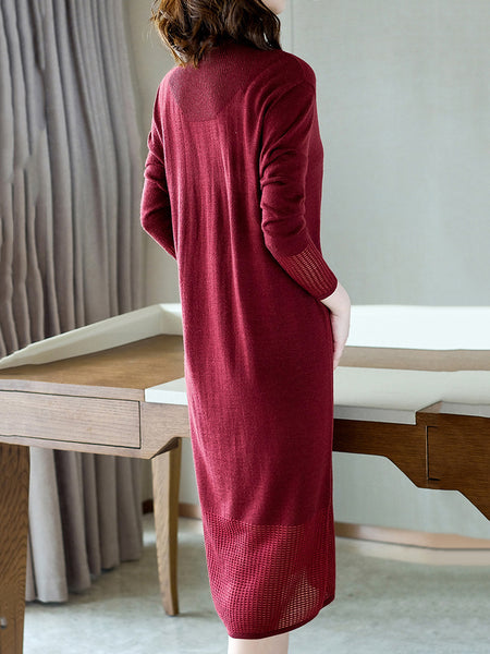 Red High Collar Long Sleeve Loose Sweater Dress