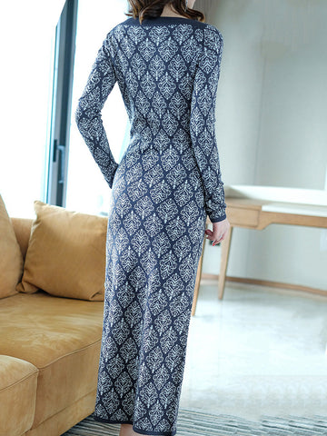 O-Neck Long Sleeve Print Sweater Dress
