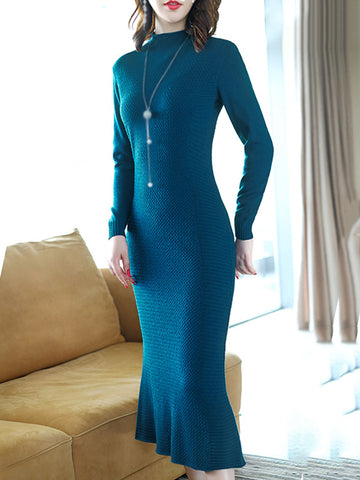 Stand Collar Long Sleeve Mermaid Sweater Dress