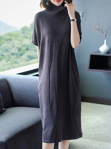 Batwing Sleeve High Collar Pure Color Sweater Dress
