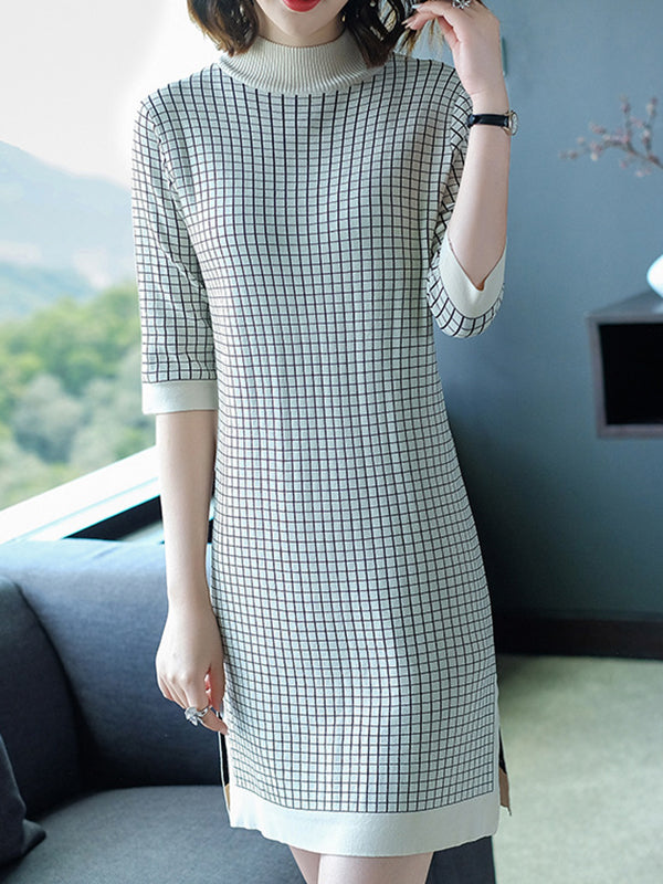 Plaid 3/4 Sleeve High Collar Loose Sweater Dress