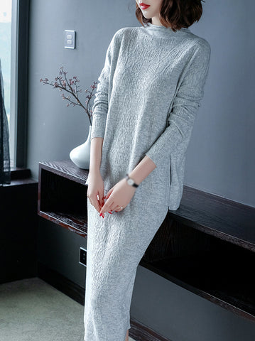 Long Sleeve O-Neck Two Piece Sweater Dress