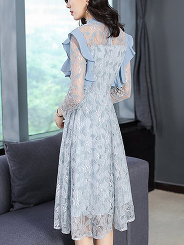 Falbala Stand Collar Long Sleeve Lace Skater Dress