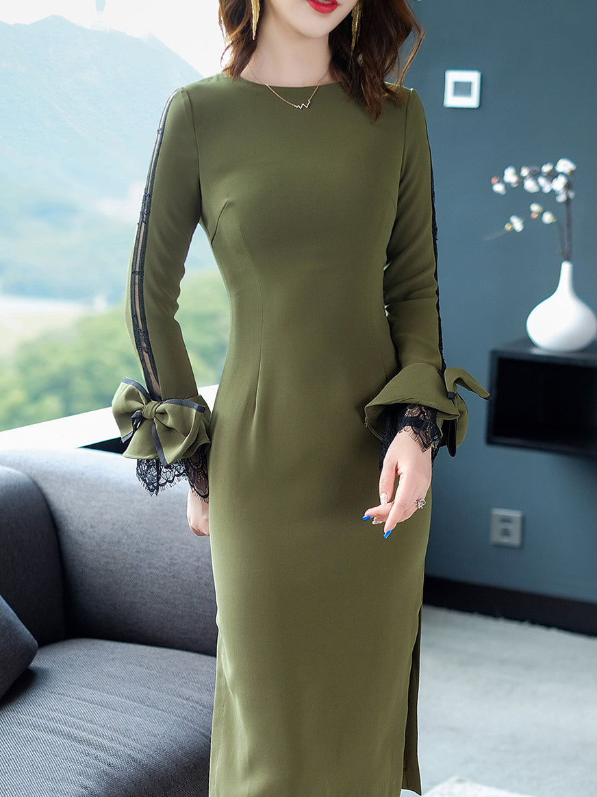 Lace Stitching Bowknot O-Neck Long Sleeve Bodycon Dress