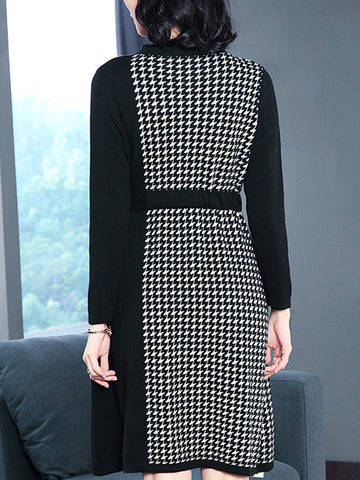 Houndstooth Stand Collar Long Sleeve Sweater Dress