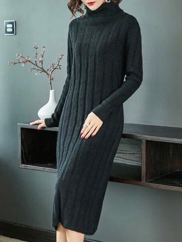 Long Sleeve High Collar Pure Color Loose Sweater Dress