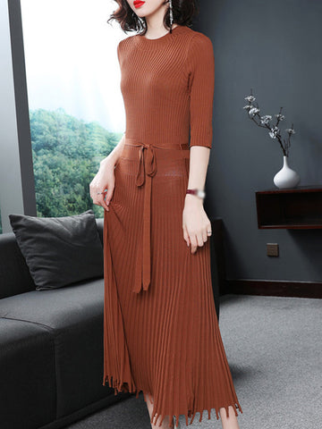 3/4 Sleeve O-Neck Gathered Waist Maxi Dress
