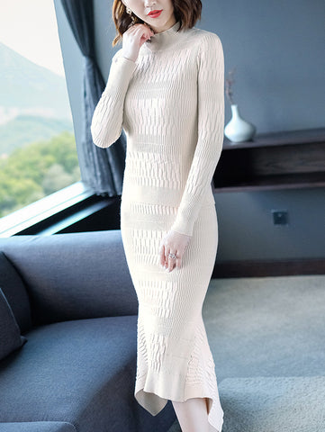 Irregular High Collar Long Sleeve Sweater Dress