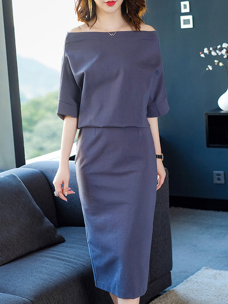 Batwing Sleeve Boat Neck Pure Color Bodycon Dress
