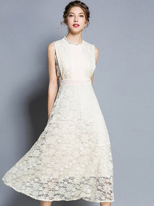 Lace Stand Collar Sleeveless Big Hem Maxi Dress